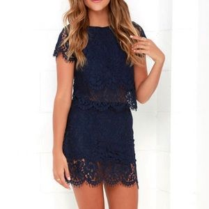 💙LULUS TWO PIECE NAVY LACE SET